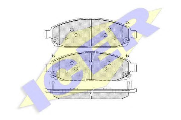 181713 ICER Комплект тормозных колодок, дисковый тормоз