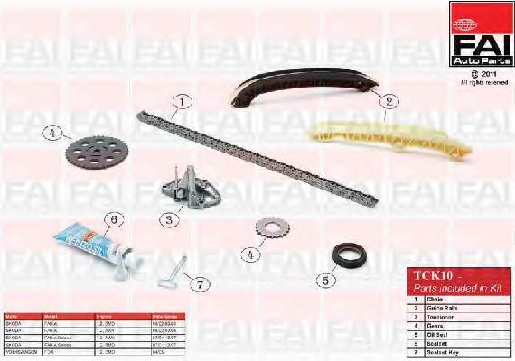 Комплект цели привода распредвала FAI AUTOPARTS TCK10