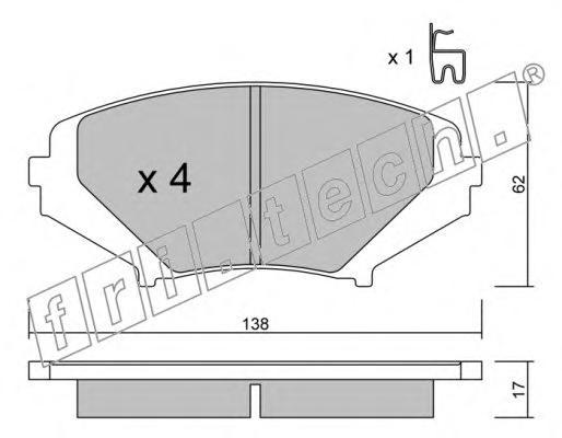 Комплект тормозных колодок, дисковый тормоз FRI.TECH. 7480