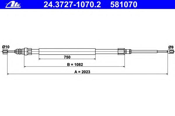 Трос, стояночная тормозная система ATE 24372710702