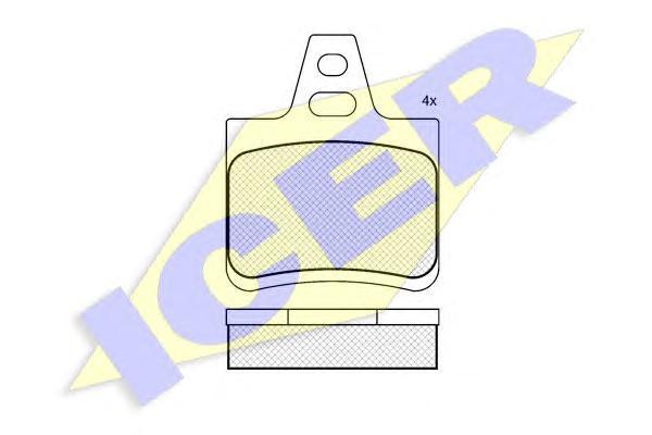 180812 ICER Комплект тормозных колодок, дисковый тормоз