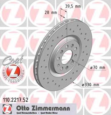 110221752 ZIMMERMANN Перфорированный тормозной диск Sport:Z