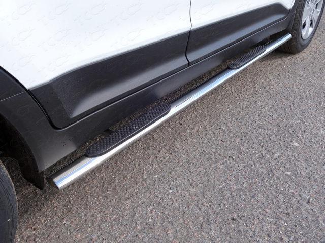 Пороги овальные с накладкой 75х42 мм Hyundai Creta (2016-) ТСС HYUNCRE1616