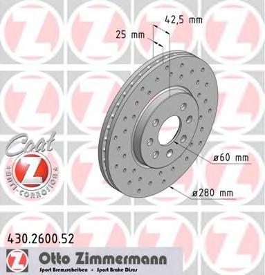 430260052 ZIMMERMANN Тормозной диск