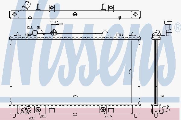 Радиатор, охлаждение двигателя NISSENS 68551