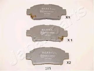 PA281AF JAPANPARTS Комплект тормозных колодок, дисковый тормоз