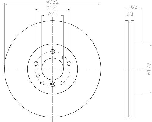 8DD355127631 BEHR-HELLA Тормозной диск