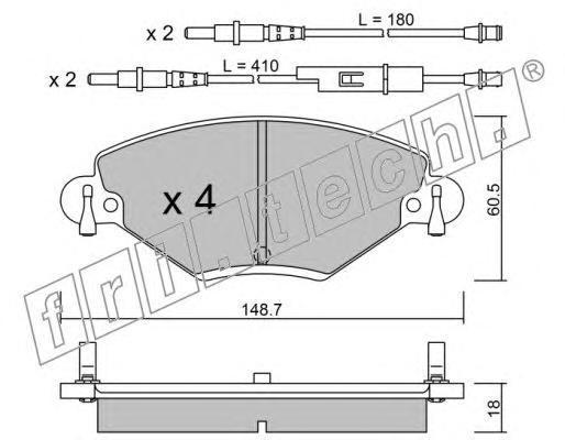 3400 FRI.TECH. Комплект тормозных колодок, дисковый тормоз