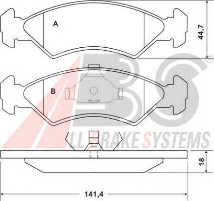 36707 ABS Комплект тормозных колодок, дисковый тормоз