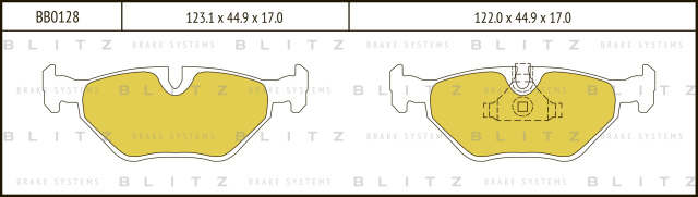 Колодки тормозные дисковые BLITZ BB0128