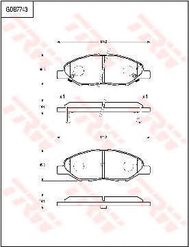GDB7743 TRW Комплект тормозных колодок, дисковый тормоз