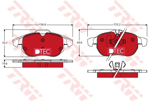 GDB1613DTE TRW Колодки передние OPEL VECTRA C, SAAB 9-3 GDB1613DTE