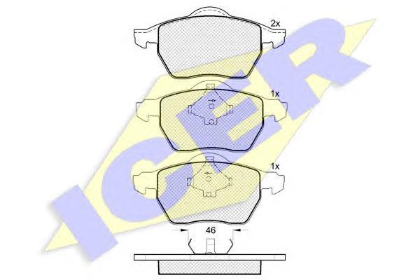 Комплект тормозных колодок, дисковый тормоз ICER 181294