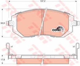 """Колодки тормозные дисковые, комплект """"COTEC TRW GDB3328"""