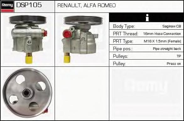 Гидравлический насос, рулевое управление DELCO REMY DSP105