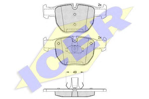 181574 ICER Комплект тормозных колодок, дисковый тормоз