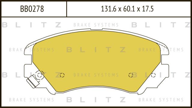 Колодки тормозные дисковые BLITZ BB0278