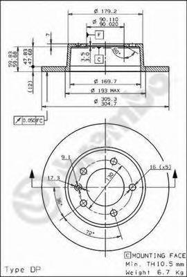 Тормозной диск BREMBO 08937110