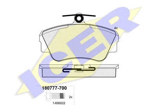 180777700 ICER Комплект тормозных колодок, дисковый тормоз