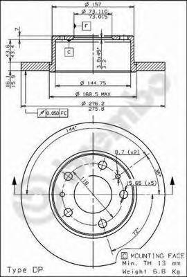 08730010 BREMBO Тормозной диск