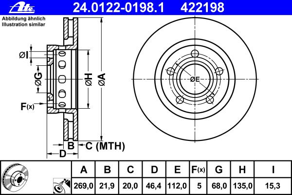 24012201981 ATE Тормозной диск
