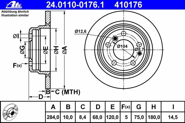 24011001761 ATE Тормозной диск