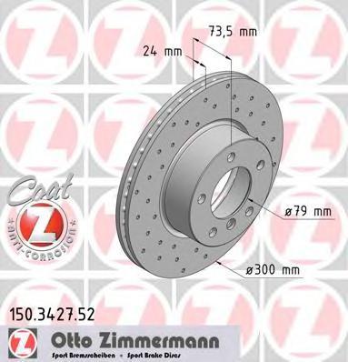 150342752 ZIMMERMANN Тормозной диск
