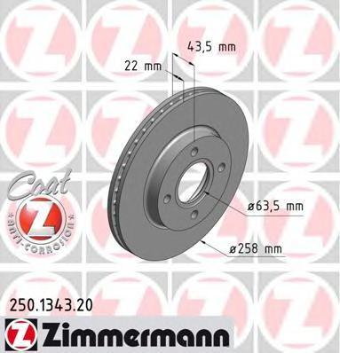 250134320 ZIMMERMANN Диск тормозной вентилируемый,