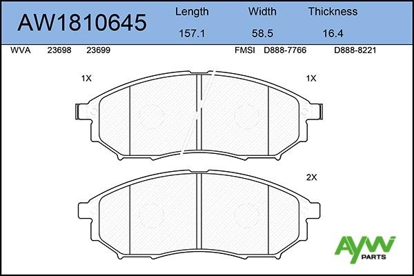 AW1810645 AYWIPARTS Колодки тормозные передние
