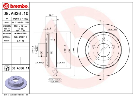 08A63610 BREMBO Тормозной диск
