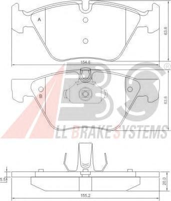 37409 ABS Комплект тормозных колодок, дисковый тормоз