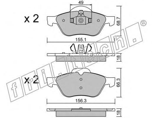 3441 FRI.TECH. Комплект тормозных колодок, дисковый тормоз