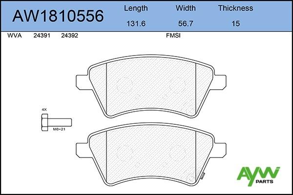 AW1810556 AYWIPARTS Колодки тормозные передние
