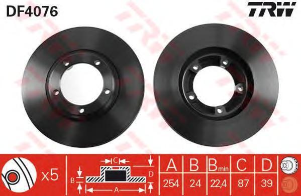 DF4076 TRW/LUCAS Тормозной диск