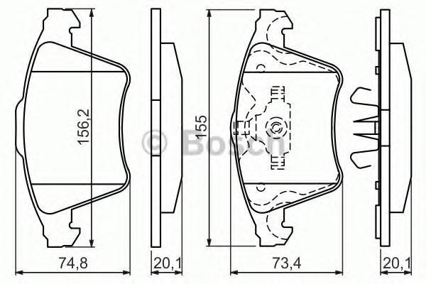 0986494202 BOSCH Комплект тормозных колодок, дисковый тормоз