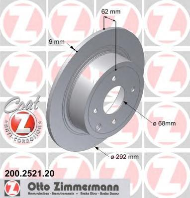 Тормозной диск ZIMMERMANN 200252120