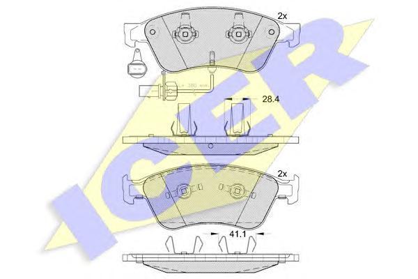 181725 ICER Комплект тормозных колодок, дисковый тормоз