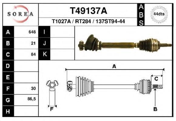 Приводной вал EAI GROUP T49137A