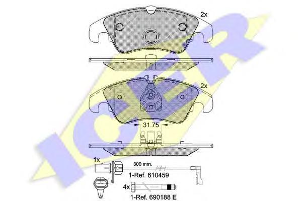Комплект тормозных колодок, дисковый тормоз ICER 181862