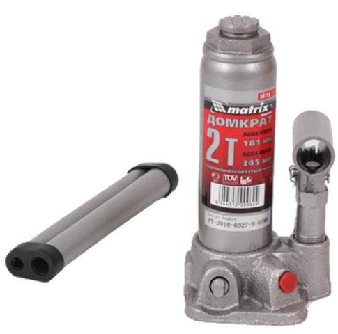 Домкрат гидравлический бутылочный 2т 181-345мм MATRIX 50715