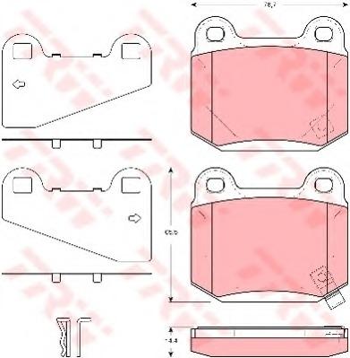GDB3350 TRW Колодки тормозные задние