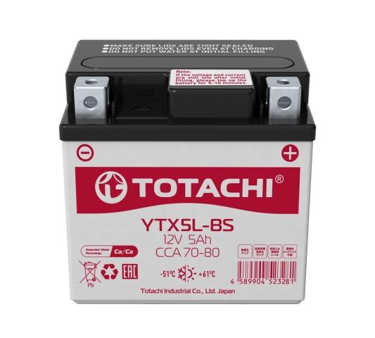 4589904523281 TOTACHI Батарея аккумуляторная 5А/ч 80А 12В обратная полярн. болтовые мото клеммы