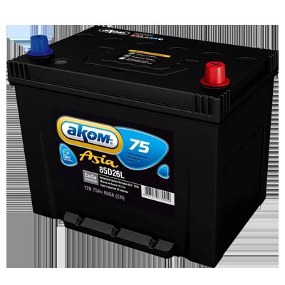 85D26R АКОМ Батарея аккумуляторная 75А/ч 600А 12В прямая поляр. стандартные клеммы