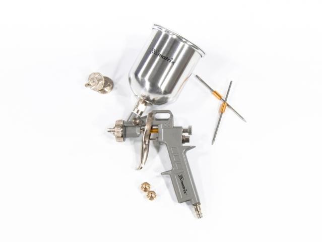 57314 MATRIX Краскораспылитель пневматический с верхним бачком V 0,6 л, сопло D 1.2, 1.5 и 1.8 мм Matrix