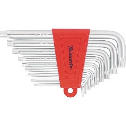 Набор ключей имбусовых TORX, 9 шт., T10-T50, CrV, коротких, с сатинированным покрытием MATRIX MATRIX 12305