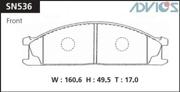 SN536 ADVICS Комплект тормозных колодок, дисковый тормоз