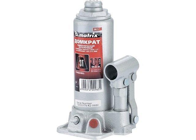 Домкрат гидравлический бутылочный 3т 194-372мм MATRIX 50717
