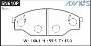 SN610P ADVICS Комплект тормозных колодок, дисковый тормоз