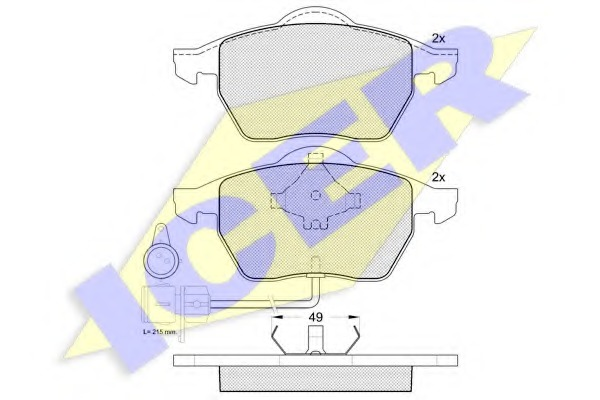 180808 ICER Комплект тормозных колодок, дисковый тормоз