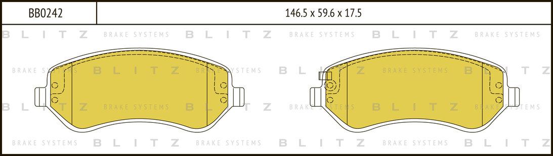 BB0242 BLITZ Колодки тормозные дисковые